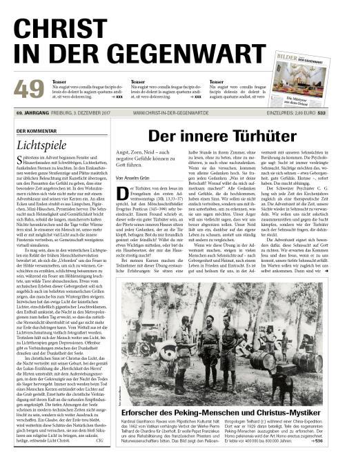 CHRIST IN DER GEGENWART 69. Jahrgang (2017) Nr. 49/2017