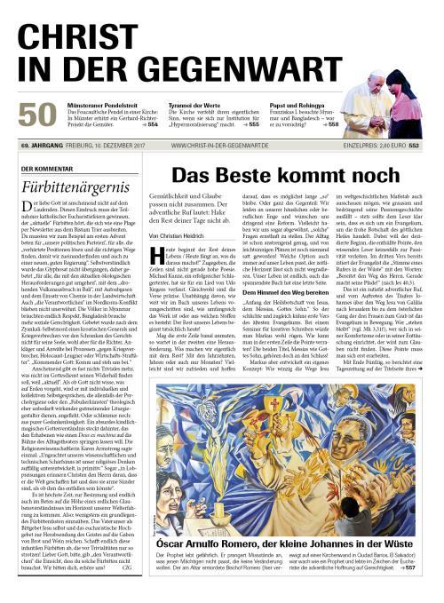 CHRIST IN DER GEGENWART 69. Jahrgang (2017) Nr. 50/2017