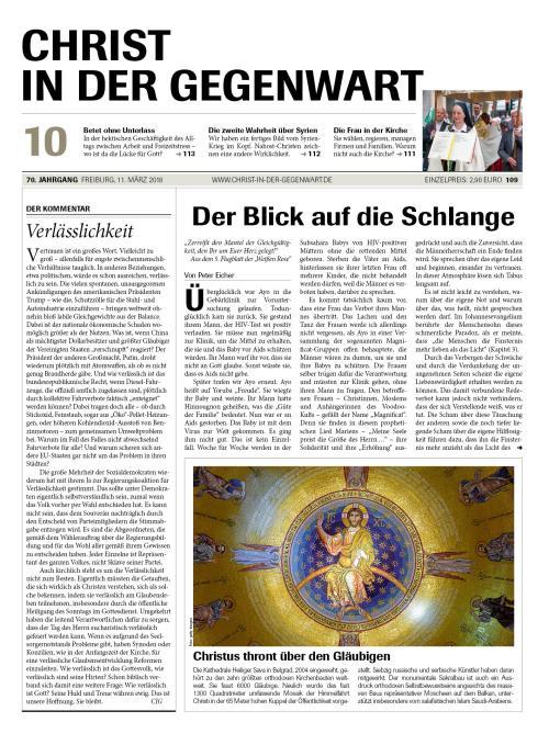 CHRIST IN DER GEGENWART 70. Jahrgang (2018) Nr. 10/2018