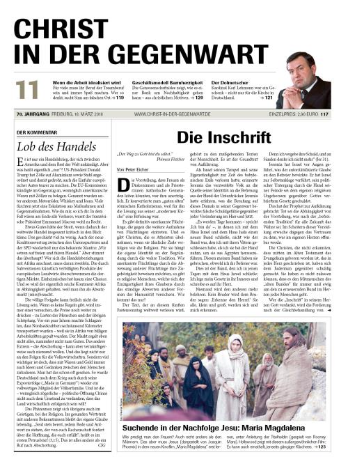 CHRIST IN DER GEGENWART 70. Jahrgang (2018) Nr. 11/2018