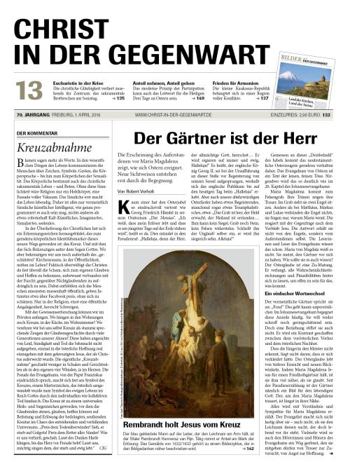 CHRIST IN DER GEGENWART 70. Jahrgang (2018) Nr. 13/2018