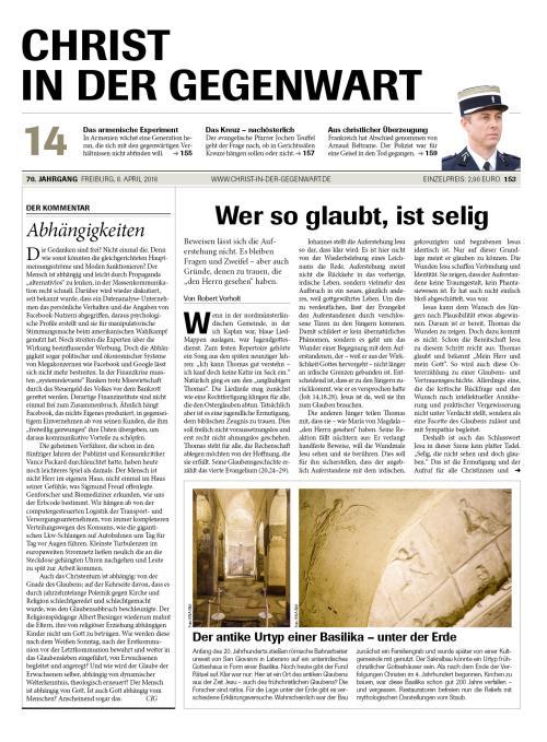 CHRIST IN DER GEGENWART 70. Jahrgang (2018) Nr. 14/2018