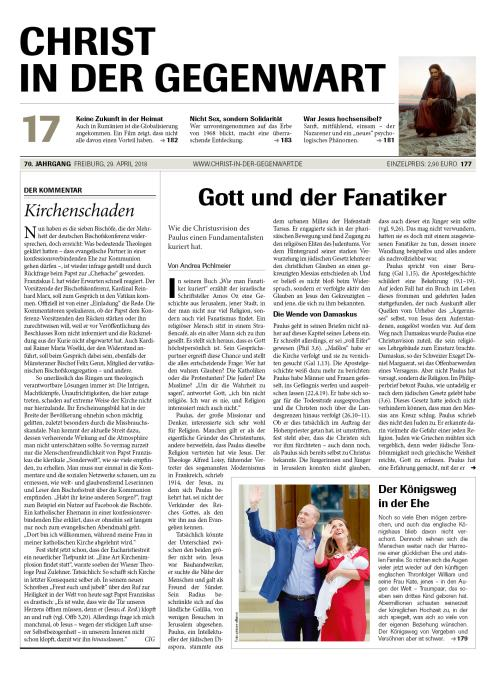 CHRIST IN DER GEGENWART 70. Jahrgang (2018) Nr. 17/2018