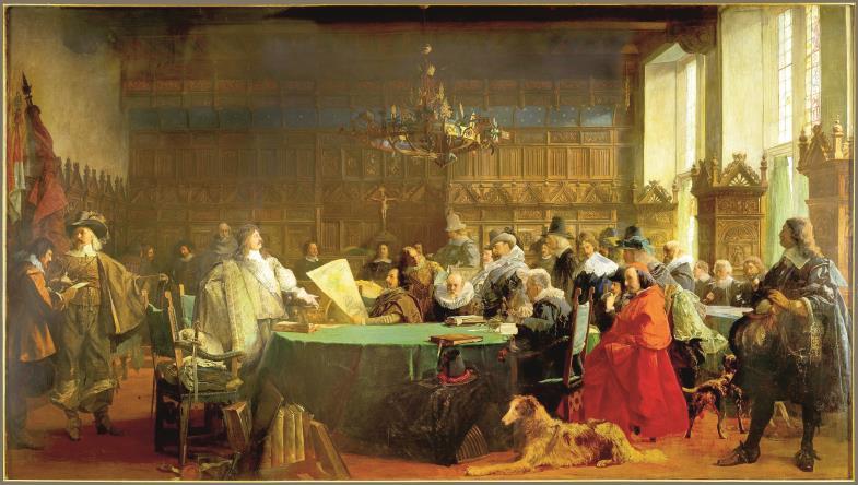 Die Mächtigen rangen um Frieden im westfälischen Münster 1648. Das Gemälde von Fritz Grotemeyer zeigt stilisiert die Verhandlungen im Rathaussaal.