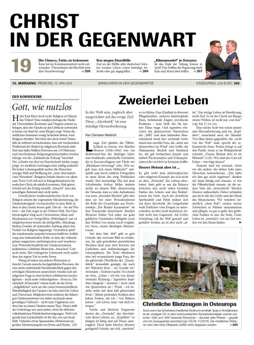 CHRIST IN DER GEGENWART 70. Jahrgang (2018) Nr. 19/2018