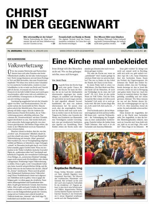 CHRIST IN DER GEGENWART 70. Jahrgang (2018) Nr. 2/2018