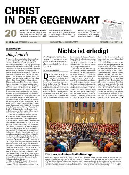 CHRIST IN DER GEGENWART 70. Jahrgang (2018) Nr. 20/2018
