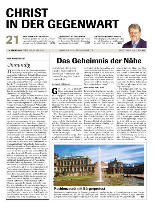 CHRIST IN DER GEGENWART 70. Jahrgang (2018) Nr. 21/2018