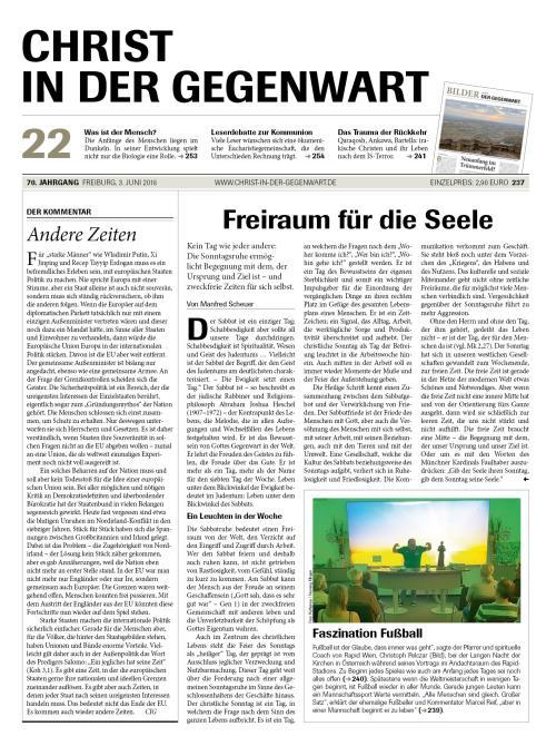 CHRIST IN DER GEGENWART 70. Jahrgang (2018) Nr. 22/2018