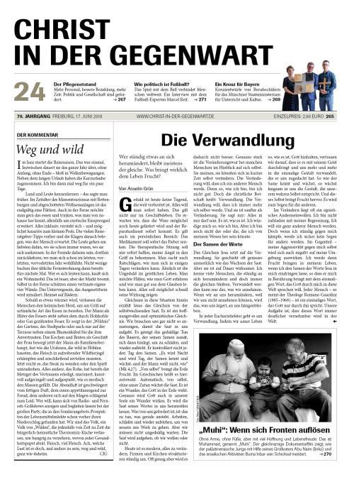 CHRIST IN DER GEGENWART 70. Jahrgang (2018) Nr. 24/2018