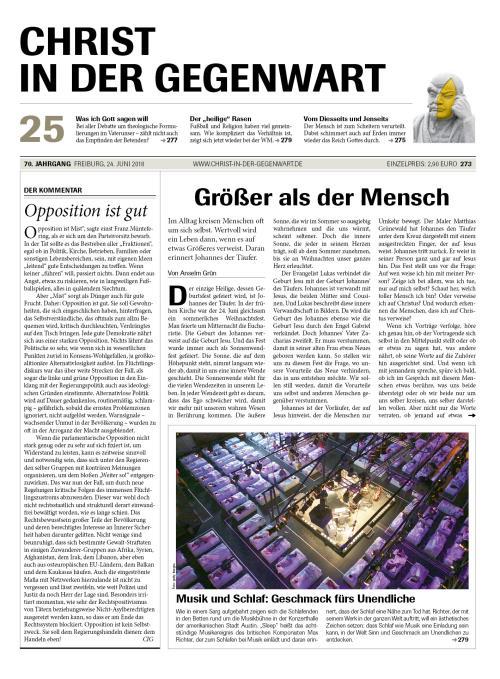 CHRIST IN DER GEGENWART 70. Jahrgang (2018) Nr. 25/2018