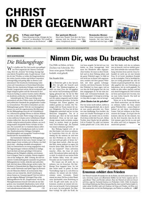 CHRIST IN DER GEGENWART 70. Jahrgang (2018) Nr. 26/2018