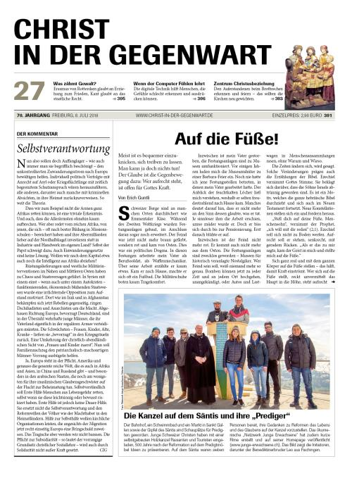 CHRIST IN DER GEGENWART 70. Jahrgang (2018) Nr. 27/2018