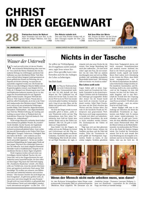 CHRIST IN DER GEGENWART 70. Jahrgang (2018) Nr. 28/2018