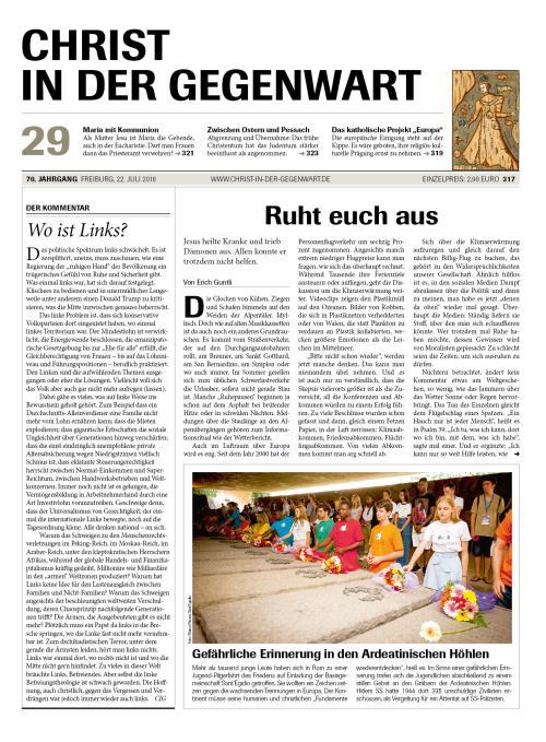 CHRIST IN DER GEGENWART 70. Jahrgang (2018) Nr. 29/2018