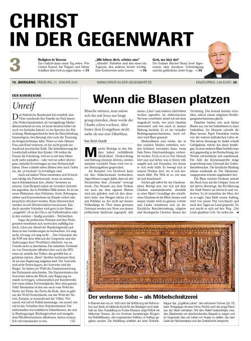 CHRIST IN DER GEGENWART 70. Jahrgang (2018) Nr. 3/2018