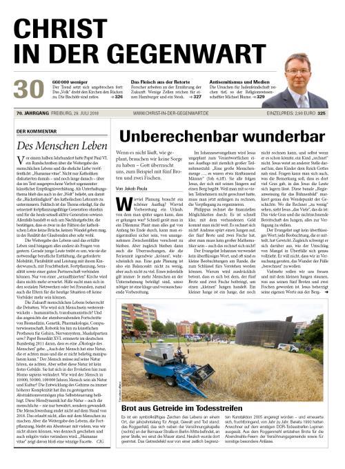 CHRIST IN DER GEGENWART 70. Jahrgang (2018) Nr. 30/2018