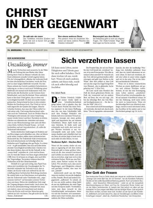 CHRIST IN DER GEGENWART 70. Jahrgang (2018) Nr. 32/2018