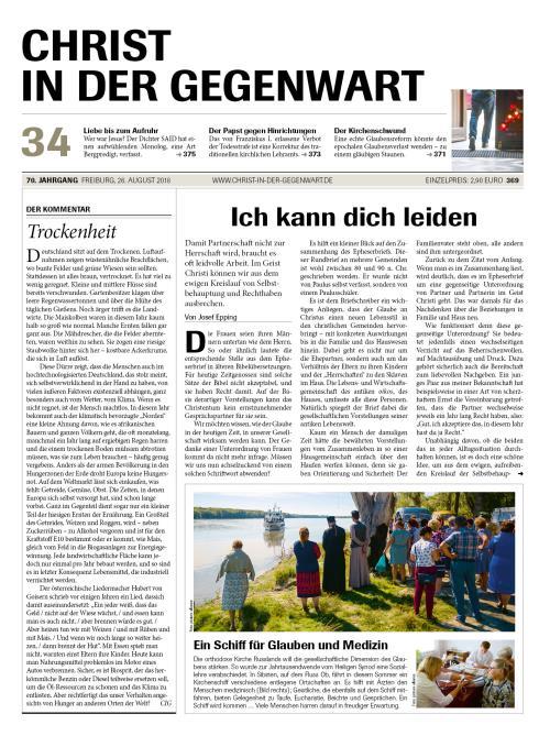 CHRIST IN DER GEGENWART 70. Jahrgang (2018) Nr. 34/2018