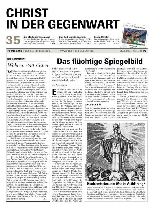 CHRIST IN DER GEGENWART 70. Jahrgang (2018) Nr. 35/2018