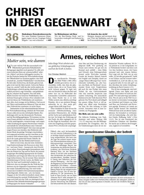 CHRIST IN DER GEGENWART 70. Jahrgang (2018) Nr. 36/2018