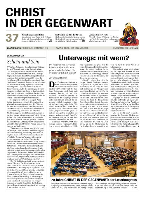 CHRIST IN DER GEGENWART 70. Jahrgang (2018) Nr. 37/2018
