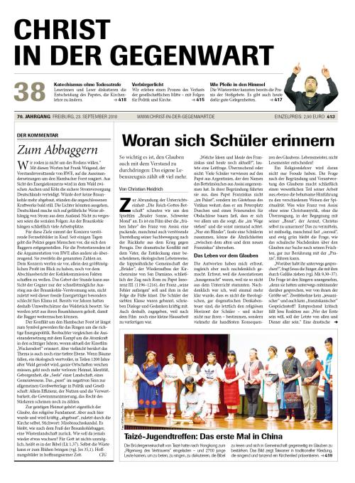 CHRIST IN DER GEGENWART 70. Jahrgang (2018) Nr. 38/2018