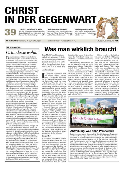 CHRIST IN DER GEGENWART 70. Jahrgang (2018) Nr. 39/2018