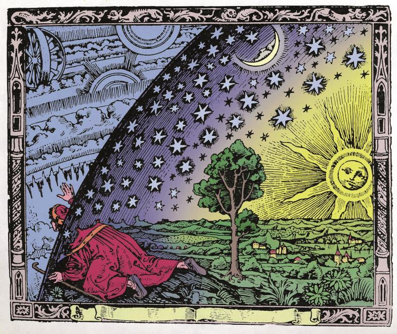 Flammarion-Holzschnitt: Der Pilger schaut von der Erde ins Universum.