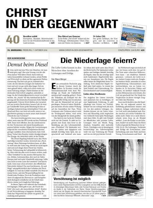 CHRIST IN DER GEGENWART 70. Jahrgang (2018) Nr. 40/2018