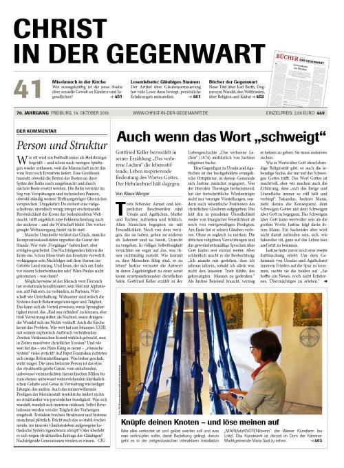 CHRIST IN DER GEGENWART 70. Jahrgang (2018) Nr. 41/2018