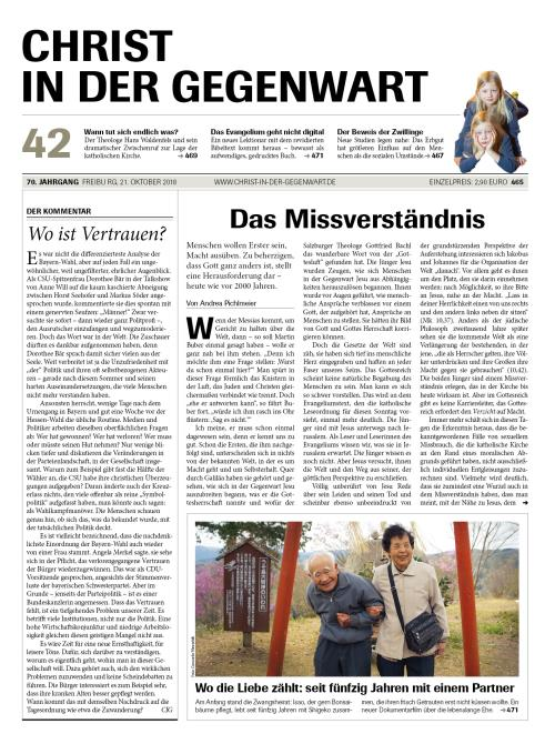 CHRIST IN DER GEGENWART 70. Jahrgang (2018) Nr. 42/2018