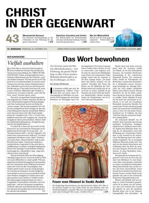 CHRIST IN DER GEGENWART 70. Jahrgang (2018) Nr. 43/2018