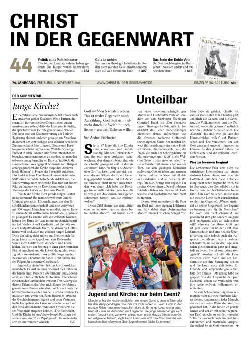 CHRIST IN DER GEGENWART 70. Jahrgang (2018) Nr. 44/2018