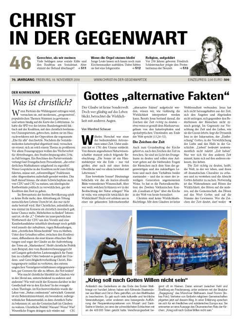 CHRIST IN DER GEGENWART 70. Jahrgang (2018) Nr. 46/2018