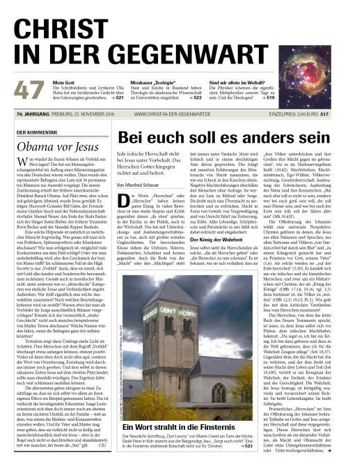 CHRIST IN DER GEGENWART 70. Jahrgang (2018) Nr. 47/2018
