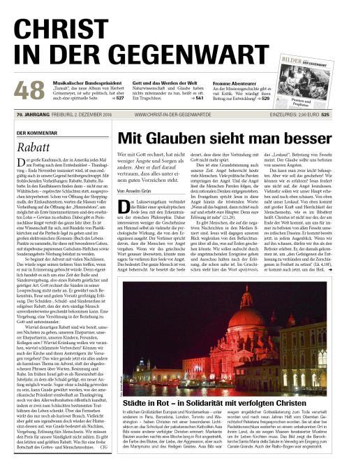 CHRIST IN DER GEGENWART 70. Jahrgang (2018) Nr. 48/2018