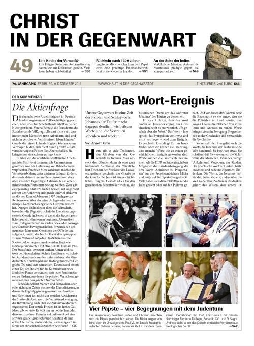 CHRIST IN DER GEGENWART 70. Jahrgang (2018) Nr. 49/2018