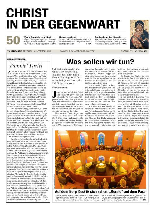 CHRIST IN DER GEGENWART 70. Jahrgang (2018) Nr. 50/2018