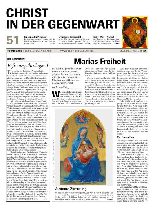 CHRIST IN DER GEGENWART 70. Jahrgang (2018) Nr. 51/2018