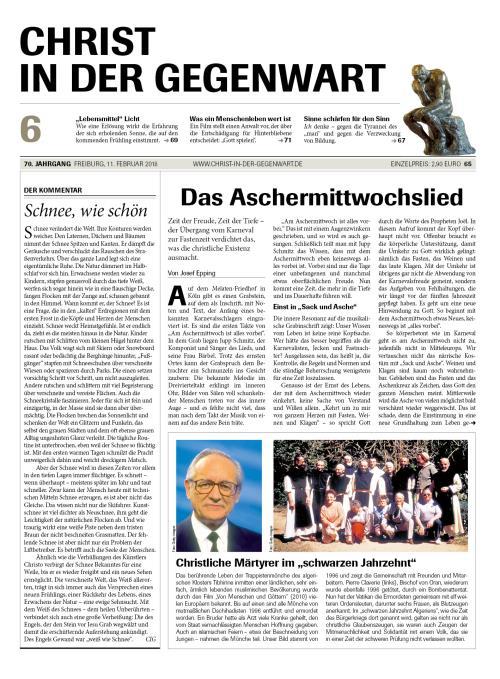 CHRIST IN DER GEGENWART 70. Jahrgang (2018) Nr. 6/2018