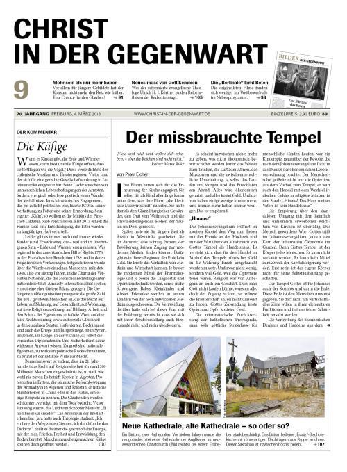 CHRIST IN DER GEGENWART 70. Jahrgang (2018) Nr. 9/2018