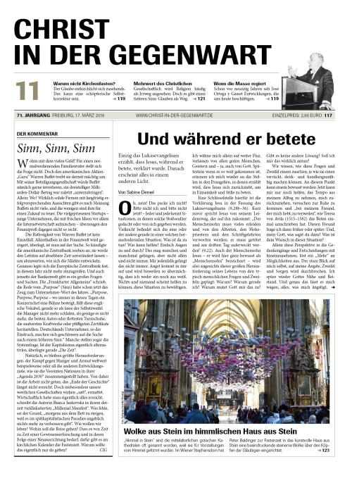 CHRIST IN DER GEGENWART 71. Jahrgang (2019) Nr. 11/2019