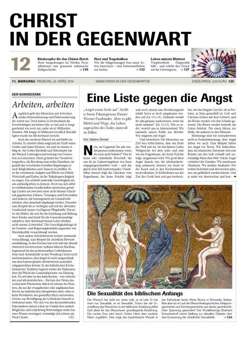 CHRIST IN DER GEGENWART 71. Jahrgang (2019) Nr. 12/2019