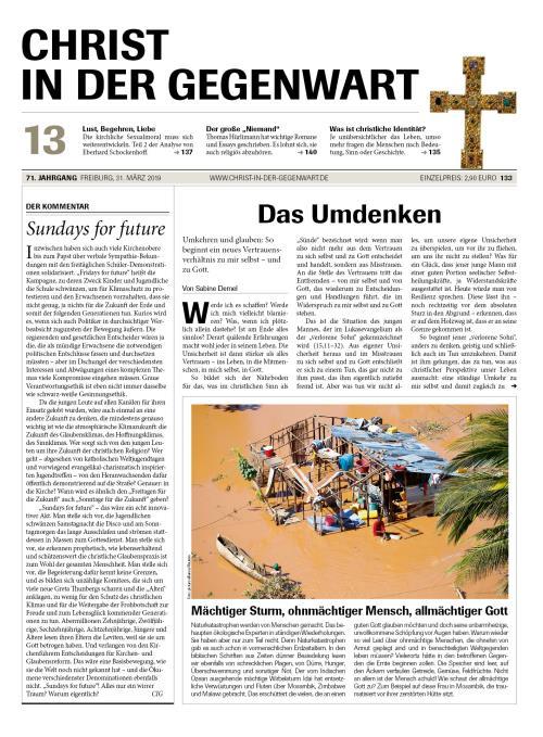 CHRIST IN DER GEGENWART 71. Jahrgang (2019) Nr. 13/2019