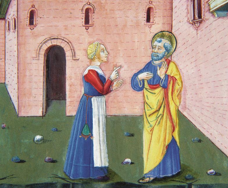 …und Petrus, der seinen Herrn verleugnet (italienische Buchmalerei, 15. Jhd.)