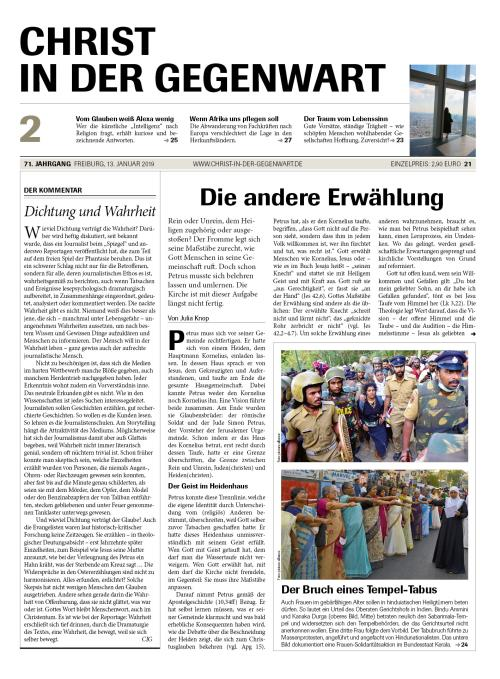 CHRIST IN DER GEGENWART 71. Jahrgang (2019) Nr. 2/2019