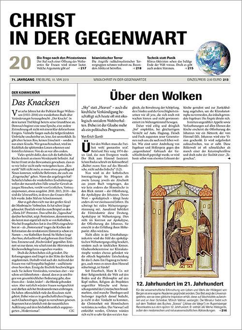 CHRIST IN DER GEGENWART 71. Jahrgang (2019) Nr. 20/2019