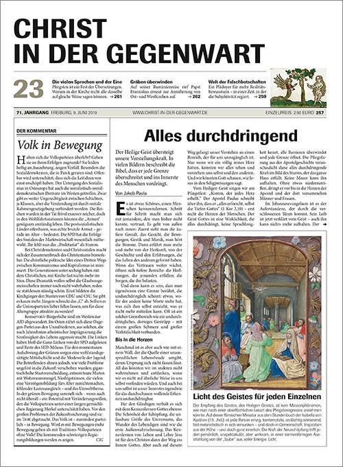 CHRIST IN DER GEGENWART 71. Jahrgang (2019) Nr. 23/2019