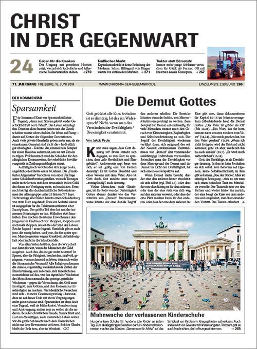 CHRIST IN DER GEGENWART 71. Jahrgang (2019) Nr. 24/2019